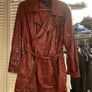 Vintage faux leather snakeskin trench